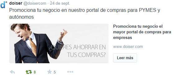 Tuit con tarjeta promociona tu empresa en doiser