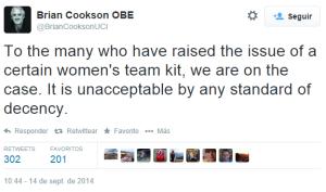 Tuit de Presidente UCI Brian Cookson
